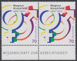 !a! GERMANY 2018 Mi. 3403 MNH Horiz.PAIR W/ Bottom Margins - Magnus Hirschfeld, Doctor - [7] Federal Republic