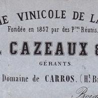 Lettre 1865 Compagnie Vinicole De La Gironde Domaine De Carros Vin Bordeaux Cazeaux & Cie Wine Blivet Le Mans Sarthe - Marcophilie (Lettres)