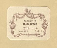 Etiquette Parfum Essence Iles D'Or Molinard GRASSE-PARIS Format 3,9 Cm X 5 Cm En Superbe.Etat - Etiquettes