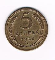-&   RUSLAND  5 KOPEKS  1928 - Russia