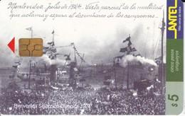 Nº 60 TARJETA DE URUGUAY DE BIENVENIDA A LA SELECCIÓN DEL MUNDIAL DEL AÑO 1924 (CHIP NEGRO) (FUTBOL-FOOTBALL) - Uruguay