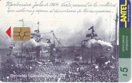 Nº 60 TARJETA DE URUGUAY DE BIENVENIDA A LA SELECCIÓN DEL MUNDIAL DEL AÑO 1924 (CHIP ROJO) (FUTBOL-FOOTBALL) - Uruguay