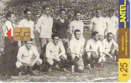 Nº 62 TARJETA DE URUGUAY DE ANTEL SELECCION CAMPEONA DEL MUNDIAL DEL AÑO 1924 (FUTBOL-FOOTBALL) - Sport