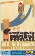 Nº 65 TARJETA DE URUGUAY DE ANTEL AFICHE DEL MUNDIAL DEL AÑO 1930 (FUTBOL-FOOTBALL) - Sport