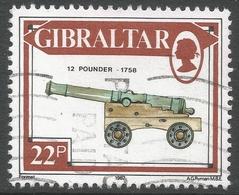 Gibraltar. 1987 Guns. 22p Used. SG 577 - Gibraltar