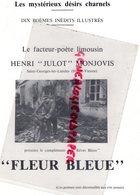87 - SAINT GEORGES LES LANDES- FACTEUR POETE LIMOUSIN HENRI JULOT MONJOVIS- FLEUR BLEUE -IMPRIMERIE RIVET LIMOGES - Limousin