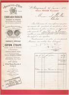 FACTURE 1892 MANUFACTURE DE SAINT REMY CALVADOS FABRIQUE DE COTON ETOUPE PANSEMENT PHARMACIE HOPITAL - France