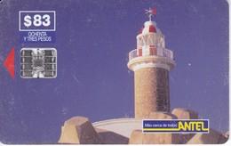 Nº 42 TARJETA DE URUGUAY DE ANTEL DE EL FARO DE PUNTA CARRETAS (LIGHTHOUSE) (rozada) - Lighthouses