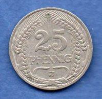 Allemagne --25  Pfennig 1910 J -  Km # 18 --  état  TB+ - [ 2] 1871-1918 : German Empire
