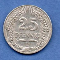 Allemagne --25  Pfennig 1909 D -  Km # 18 --  état  TB+ - [ 2] 1871-1918 : German Empire