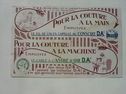 BUVARD ANCIEN - FIL COUTURE D.A.é - COUTURE A LA MAIN COUTURE A LA MACHINE - IMP. LEFEVRE DUCROCQ LILLE - Textile & Clothing