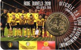 2,50 Euros Commémorative Belgique Diables Rouges Coin Card 2018 Version Flamande - Belgium