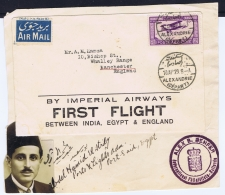 Egypt: First Flight By Imperial Airways Between India, Egypt & England With Documentation - Egypt