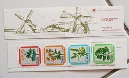 PORTUGAL ACORES Moulins, Moulin, Mill, Molino, Fleurs , Yvert 1106, Carnet 4 Valeurs ** MNH - Windmills