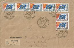 1969 - Conseil De L'Europe - Lettre Recommandée De Strasbourg Pour Boulogne - 5 Tp N°31 + 2 Tp N°35 (Envel. 23 X 15cm) - Lettres & Documents