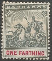 Barbados. 1905 Seal Of Colony. ¼d MH. Mult Crown CA W/M SG 135 - Barbados (...-1966)
