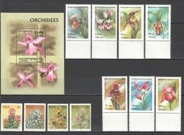 O410 MIX CAMBODGE MADAGASIKARA RSA PLANTS FLOWERS ORCHIDS 2SET+1BL MNH - Plants