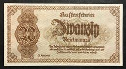 GERMANIA ALEMANIA GERMANY  KASSESCHEIN 20 REICHSMARK 28.4.1945  UNC  Pick. 187   LOTTO 1999 - [ 4] 1933-1945 : Terzo  Reich
