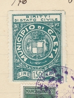 Gaeta. 1932. Marca Municipale Diritti Di Stato Civile L. 1,50, Su Certificato Di Nascita - Other