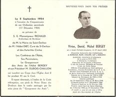 Faire-part In Memoriam De L'abbé Bergey En 1954, Curé De St-Emilion (33), Aumonier En 14-18, Député, Interné En 1944 - Décès