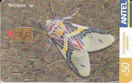 Nº 390 TARJETA DE URUGUAY DE UNA MARIPOSA (BUTTERFLY) - Farfalle