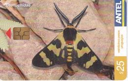 Nº 389 TARJETA DE URUGUAY DE UNA MARIPOSA (BUTTERFLY) - Farfalle