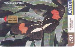 Nº 292 TARJETA DE URUGUAY DE UNA MARIPOSA (BUTTERFLY) - Farfalle