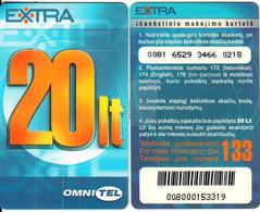 LITHUANIA - Omnitel Prepaid Card 20 Lt(thick Plastic), Thin CN, Used - Lithuania