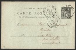 FRANCE 1877-80 SAGE ENTIERS YT N° 89-CP5 10c Noir Oblitéré BAUVIN A LENS 10/10/1897 - 1876-1898 Sage (Type II)