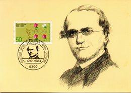 "BRD Maximumkarte ""100.Todestag Von Gregor Johann Mendel"" Mi-Nr. 1199 ESSt. 12.1.1984 BONN 1 - Maximum Cards"