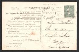 FRANCE 1903 SEMEUSE LIGNEE YT N° 130f  15c Vert  Type 6 Sur Carte Postale - 1903-60 Semeuse Lignée