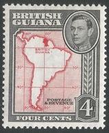 British Guiana. 1938-52 KGVI. 4c MH. P13X14 SG 310b - British Guiana (...-1966)