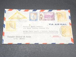 BOLIVIE - Enveloppe Du Consulat De Suisse à La Paz Pour Accra En 1945 , Affranchissement Plaisant - L 19692 - Bolivie