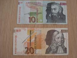 LOT DE 2 BILLETS BANKA SLOVENIJE 10 ET 20 - Slovénie