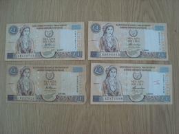 LOT DE 4 BILLETS  CENTRAL BANK OF CYPRUS ONE POUND - Chypre