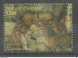 ANDORRA. 2017 Les Boeufs Dans La Peinture (les Animaux Dans L'Art) Un Timbre Oblitéré.,1 ère Qualité - Frans-Andorra