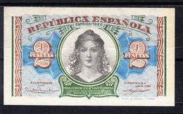 ESPAÑA 1937. 2 PESETAS.MATRONA REPUBLICANA PUENTE DE TOLEDO SOBRE EL MANZANARES. SERIE A CASI SIN CIRCULAR    B812 - [ 2] 1931-1936 : Republic
