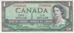 Canada #75b, 1 Dollar Banknote, 1954 Issue, Beattie-Rasminsky (1961-72), VF+ - Canada