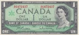 Canada #84b, 1 Dollar Banknote, 1967 Centennial Issue, VF+ - Canada