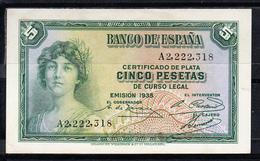 ESPAÑA 1935  5   PESETAS. MATRONA REPUBLICANA. CERTIFICADO DE PLATA SERIE A . SIN CIRCULAR. B813 - [ 2] 1931-1936 : Republic