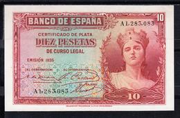 ESPAÑA 1935  10 PESETAS. MATRONA REPUBLICANA. CERTIFICADO DE PLATA SERIE A . SIN CIRCULAR. B814 - [ 2] 1931-1936 : Republic