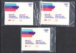 Canada 1975 Semi-Postal, Original Packaging, Mint No Hinge, Corner Blocks, Sc# B4-B6 - Unused Stamps