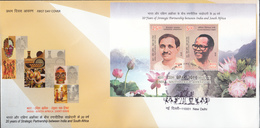 INDIA 2018  FDC MS   INDIA   SOUTH  AFRICA, Joint Issue, Miniature Sheet   First Day Cover NEW DELHI Cancellation - FDC