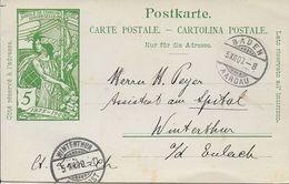 "Schweiz Suisse 1900: PK ""25 Jahre UPU"" CP ""Jubilé UPU"" 5c Grün Vert O BADEN 5.XII..00 - U.P.U."