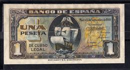 ESPAÑA 1940. 1 PESETA. CARABELA SANTA MARIA .SERIE D  SIN CIRCULAR. MAGNIFICO BILLETE  B817 - [ 3] 1936-1975 : Regency Of Franco