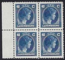 Grand-Duchesse Charlotte 1946, Feuille à 4 Timbres 40c. Bleu Michel 2017: 353, Neuf Sans Charnière (2scans) - Luxembourg