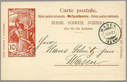 """Schweiz Suisse 1900: PK """"25 Jahre UPU"""" (10c Rot) CP """"Jubilé UPU"""" (10c Rouge) Mit O  WASEN 10.VII.00 (BERN) - Entiers Postaux"""