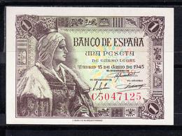 ESPAÑA 1945. 1 PESETA. ISABEL LA  CATOLICA  .SERIE C . SIN CIRCULAR. MAGNIFICO BILLETE  B824 - [ 3] 1936-1975 : Regency Of Franco