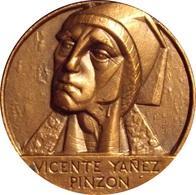 ESPAÑA. MEDALLA F.N.M.T. NAVEGANTE VICENTE YAÑEZ PINZON. 1.985. BRONCE. ESPAGNE. SPAIN MEDAL - Firma's