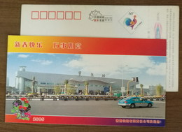 Ningbo Railway Station,square,taxicab,China 2005 Xiaoyong Railroad Company Advertising Pre-stamped Card - Trains
